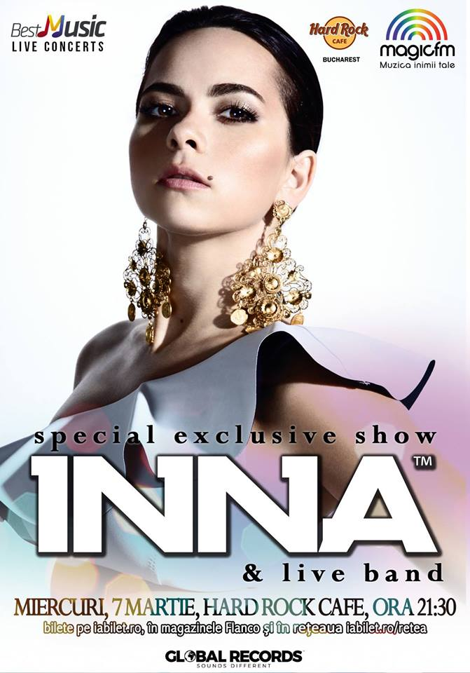 INNA – special exclusive show, 7 martie, Hard Rock Cafe